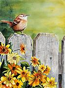 Fence Painting Posters - Hello Morning Poster by John W Walker