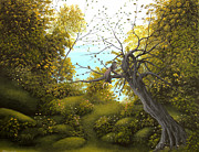 Fantasy Tree Posters - Hello Mr. Tree. Fantasy Fairy Tale Landscape Painting. By Philippe Fernandez Poster by Philippe Fernandez