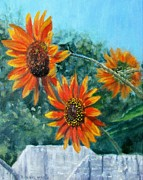 Garden Scene Paintings - Hello Neighbor-Sunflowers over the Fence by Bonnie Mason