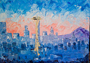 Seattle Skyline Paintings - Hello Seattle  by Joseph Pena