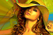 Girl Digital Art Originals - Hello Sunshine by Byron Fli Walker