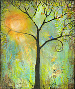 Green Painting Posters - Hello Sunshine Tree Birds Sun Art Print Poster by Blenda Studio