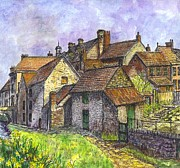 Old Houses Mixed Media - Helmsley Village -  in Yorkshire England  by Carol Wisniewski