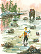 Fly Fisherman Paintings - Help is on the Way by Walt Brodis