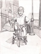 Tricycle Drawings Originals - Helping Mom by Beverly Marshall