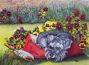 Miniature Schnauzer Paintings - Helping the gardener by Terry Albert