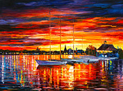 Helsinki Sailboats At Yacht Club Print by Leonid Afremov
