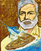 Blue Marlin Pastels - Hemingway and the Pilar by William Depaula