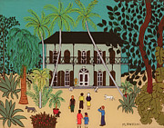 Cartoon Painting Metal Prints - Hemingways House Key West Florida Metal Print by Micaela Antohi