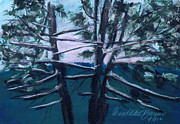 Winter Scene Pastels Prints - Hemlocks Snowy Morning Print by Bernadette Kazmarski