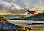 New England Ocean Digital Art Posters - Hendricks Head Light Poster by Lori Deiter