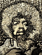 Pallet Knife Digital Art Metal Prints - Hendrix Black And White Metal Print by Michael Kulick