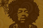 Rock N Roll Digital Art - Hendrix in Brown by Cynthia Edwards