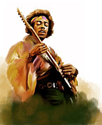 Iconic Guitar Posters - Hendrix  Jimi Hendrix Poster by Iconic Images Art Gallery David Pucciarelli