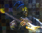 Jimi Hendrix Painting Originals - Hendrix pixels by Candice Griffy