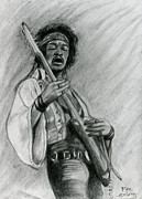 Heavy Metal Drawings - Hendrix by Roz Barron Abellera