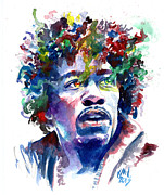Guitarists Paintings - HendrixHead by Ken Meyer jr
