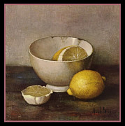 Bos Bos Digital Art - Henk Bos Fruits Still Life Lemons with White Bowl by Pierpont Bay Archives