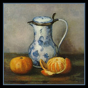 Henk Bos Fruits Still Life Tangerine With Pitcher Print by Pierpont Bay Archives