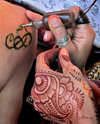 Sepia Ink Photos - Henna Hands at Work by Jennie Breeze