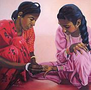 India Pastels Metal Prints - Henna Painting Metal Print by Marion Derrett