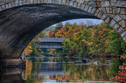 Autumn Foliage Photo Posters - Henniker covered bridge No. 63 Poster by Jeff Folger