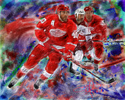 Hockey Painting Metal Prints - Henrick Zetterberg Metal Print by Donald Pavlica