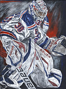 New York Rangers Paintings - Henrik Lundqvist by David Courson