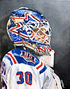 New York Rangers Prints - Henrik Lundqvist - New York Rangers Print by Michael  Pattison