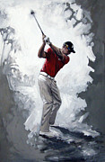 Golfer Paintings - Henrik Stenson 2009 by Mark Robinson