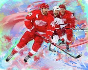 Hockey Painting Prints - Henrik Zetterberg 2 Print by Donald Pavlica