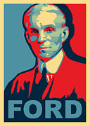 Transportation Mixed Media Metal Prints - Henry Ford Metal Print by Design Turnpike