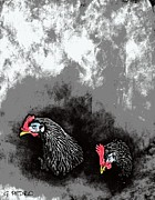 Fresh Pastels Prints - Hens at Rest Print by George Pedro