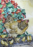 Hens And Chicks Paintings - Hens Chicks Nasturtiums by Anne Shoemaker-Magdaleno