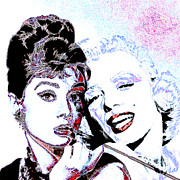Actors Digital Art Framed Prints - Hepburn and Monroe 20130331 square Framed Print by Wingsdomain Art and Photography
