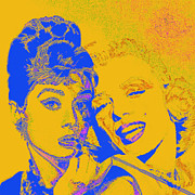 Old Hollywood Digital Art - Hepburn and Monroe 20130331v2 square by Wingsdomain Art and Photography