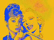 Old Hollywood Digital Art - Hepburn and Monroe 20130331v2 by Wingsdomain Art and Photography