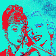 Fame Metal Prints - Hepburn and Monroe 20130331v2p128 square Metal Print by Wingsdomain Art and Photography