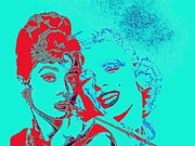Fame Metal Prints - Hepburn and Monroe 20130331v2p128 Metal Print by Wingsdomain Art and Photography