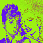 Fame Metal Prints - Hepburn and Monroe 20130331v2p38 square Metal Print by Wingsdomain Art and Photography