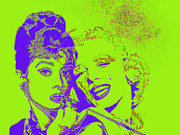 Fame Metal Prints - Hepburn and Monroe 20130331v2p38 Metal Print by Wingsdomain Art and Photography