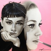 Famous People Prints Prints - Hepburn Print by Christian Chapman Art