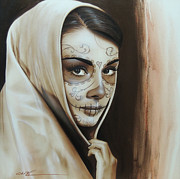 Sugar Skull Paintings - Hepburn De Los Muertos by Christian Chapman Art