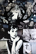 Actors Mixed Media Prints - HepBURN It To The Ground Print by Bobby Zeik