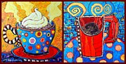 Her And His Coffee Cups Print by Ana Maria Edulescu