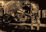 Biker Framed Prints - Her Bike Framed Print by Bob Orsillo