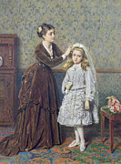 Mother And Daughter Painting Posters - Her First Communion Poster by George Goodwin Kilburne