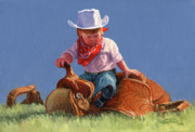 Texas Cowgirl Posters - Her First Taste Of Texas Poster by Randy Follis