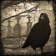 Aged Art Collage Prints - Her Graveyard Print by Gothicolors And Crows