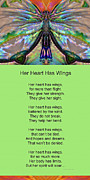 Her Heart Has Wings With Poem By Sharon Cummings Print by Sharon Cummings